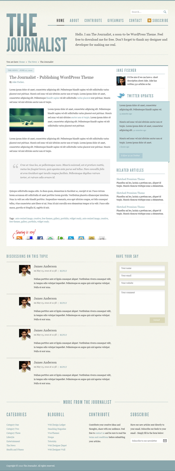 The Journalist Post and Page PSD Theme